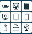 set of 9 computer hardware icons includes pc vector image vector image