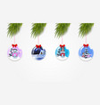 set of christmas tree branches with xmas and new vector image