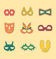set of flat style outlined masks without handles vector image
