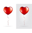 set red heart shaped foil balloons on vector image