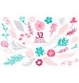 set spring floral decor elements vector image