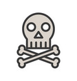 skull and bone death or pirate sign icon vector image vector image