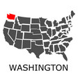 state washington on map usa vector image vector image