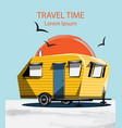 summer travel car camping trailer on blue vector image vector image