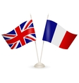 table stand with flags of england and france vector image vector image