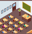 teacher student in classroom in isometric vector image
