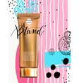 toner contained in plastic tube with gold lid and vector image