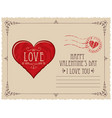 valentine card with red heart in vintage style vector image