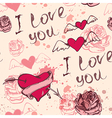 Vintage hand drawn Valentine seamless pattern vector image vector image