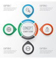 web icons set collection unlock zoom out vector image vector image