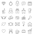 wedding line icons on white background vector image vector image