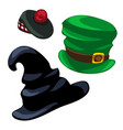 wizard hat leprechaun and scottish cap vector image