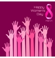 Womens Day Greeting Card Design Pink hands vector image