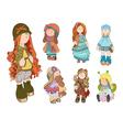 set cute dolls girl vector image