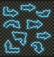 set of glowing blue neon arrows vector image
