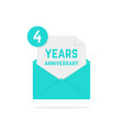 4 years anniversary icon in green letter vector image