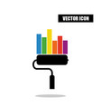 paint roller statistic chart icon isolated on vector image