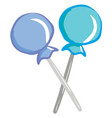 a pair blue lollipops or color vector image vector image