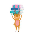 back to school education cute deer with books vector image vector image