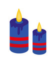 blue candles icon flat style isolated on white vector image