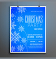 blue snowflakes merry christmas party flyer vector image