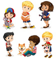 Boys and girls with their pets vector image