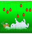 Bunny plays with Easter eggs vector image vector image