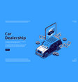 car dealership isometric landing with automobile