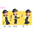 cartoon funny british policeman girl character set vector image vector image
