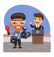 cartoon photojournalist and politician vector image vector image