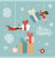 christmas new year celebration cards small vector image