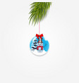 christmas tree branch with xmas and new year ball vector image