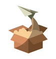 colorful silhouette of cardboard box and paper vector image vector image