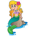 cute cartoon mermaid vector image