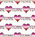 cute femme lesbian heart with text cartoon vector image vector image