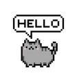 cute kitten domestic pet pixel saying hello vector image vector image