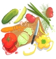 Cutting Vegetables With Board And vector image