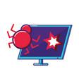 desktop computer with virus infection vector image vector image