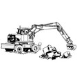 excavator machine in work vector image vector image