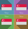 Flags Singapore Set of colors flat design and long vector image