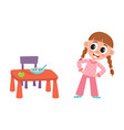 flat girl are going to eat apple porridge vector image