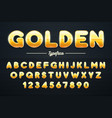 golden shining font gold letters and numbers vector image