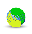 green hands over world vector image vector image