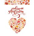 greeting card with text welcome autumn orange vector image vector image