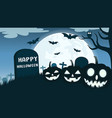 halloween background with smile pumpkin devil vector image vector image