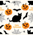 halloween seamless pattern with cat bat spider vector image