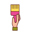 hand holding paint brush artistic vector image vector image