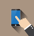 hand on smartphone vector image vector image