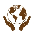 hands holding planet earth icon image vector image