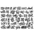 handwritten catchwords and ampersands set vector image
